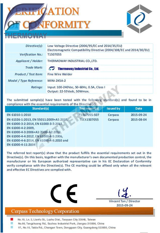 CE certificate welding spot - Công ty TNHH Công Nghiệp Thermoway ...